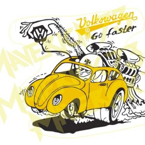 Adesivo Vintage Retro Carro Antigo Marcas Antigas. Adesivos para Parabrisa Decorativos Vintage Retrô. Decals Stickers Volkswagen Fusca Go Faster