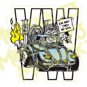 Adesivo Vintage Retro Carro Antigo Marcas Antigas. Adesivos para Parabrisa Decorativos Vintage Retrô. Decals Stickers VW Volkswagen I'm Mad Over My VW