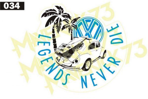 Adesivo Vintage Retro Carro Antigo. Adesivos para Parabrisa Decorativos Vintage Retrô. Decals Stickers VW Volkswagen Legends Never Die