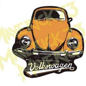 Adesivo Vintage Retro Carro Antigo Marcas Antigas. Adesivos para Parabrisa Decorativos Vintage Retrô. Decals Stickers VW Volkswagen Fusca Laranja