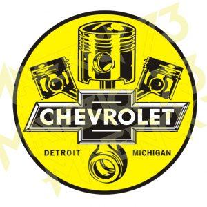 Adesivo Vintage Retro Carro Antigo Marcas Antigas. Adesivos para Parabrisa Decorativos Vintage Retrô. Decals Stickers Chevrolet Pistons Detroit Michigan
