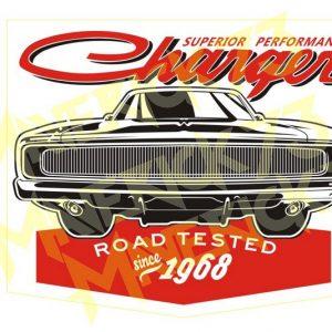 Adesivo Vintage Retro Carro Antigo Marcas Antigas. Adesivos para Parabrisa Decorativos Vintage Retrô. Decals Stickers Charger 1968 Road Tested