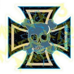 Adesivo Vintage Retro Carro Antigo Marcas Antigas. Adesivos para Parabrisa Decorativos Vintage Retrô. Decals Stickers Skull Blue Cross
