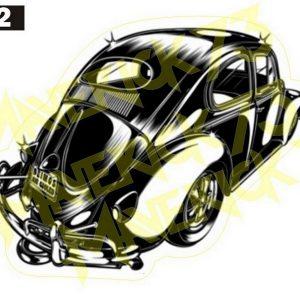 Adesivo Vintage Retro Carro Antigo Marcas Antigas. Adesivos para Parabrisa Decorativos Vintage Retrô. Decals Stickers Volkswagen Fusca Old Black