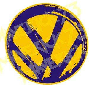 Adesivo Vintage Retro Carro Antigo Marcas Antigas. Adesivos para Parabrisa Decorativos Vintage Retrô. Decals Stickers Volkswagen VW yellow blue