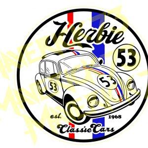 Adesivo Vintage Retro Carro Antigo Marcas Antigas. Adesivos para Parabrisa Decorativos Vintage Retrô. Decals Stickers Herbie 53 Volkswagen