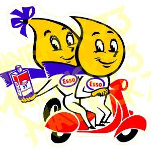 Adesivo Vintage Retro Carro Antigo Marcas Antigas. Adesivos para Parabrisa Decorativos Vintage Retrô. Gasoline and Motor Oils Parts Decals Stickers Esso 2T Oil