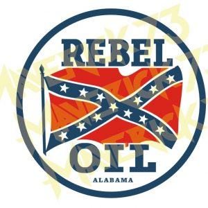 Adesivo Vintage Retro Rebel Oil Alabama